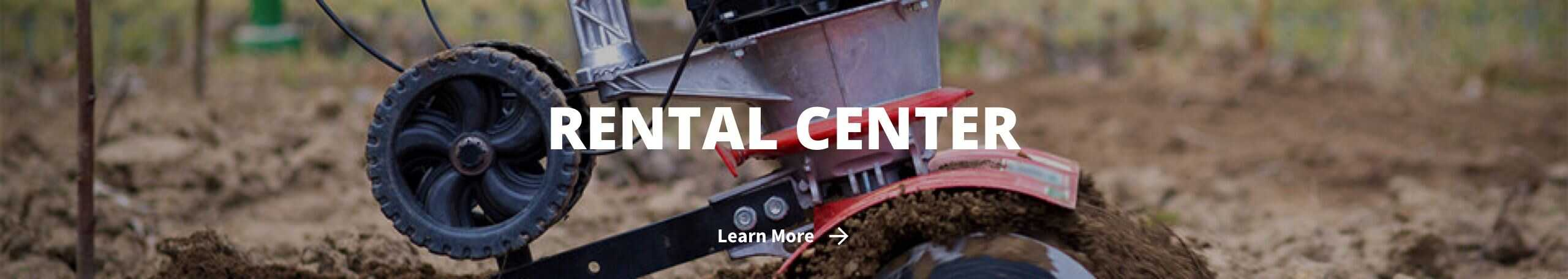 Rental Center with rental equipment in dirt