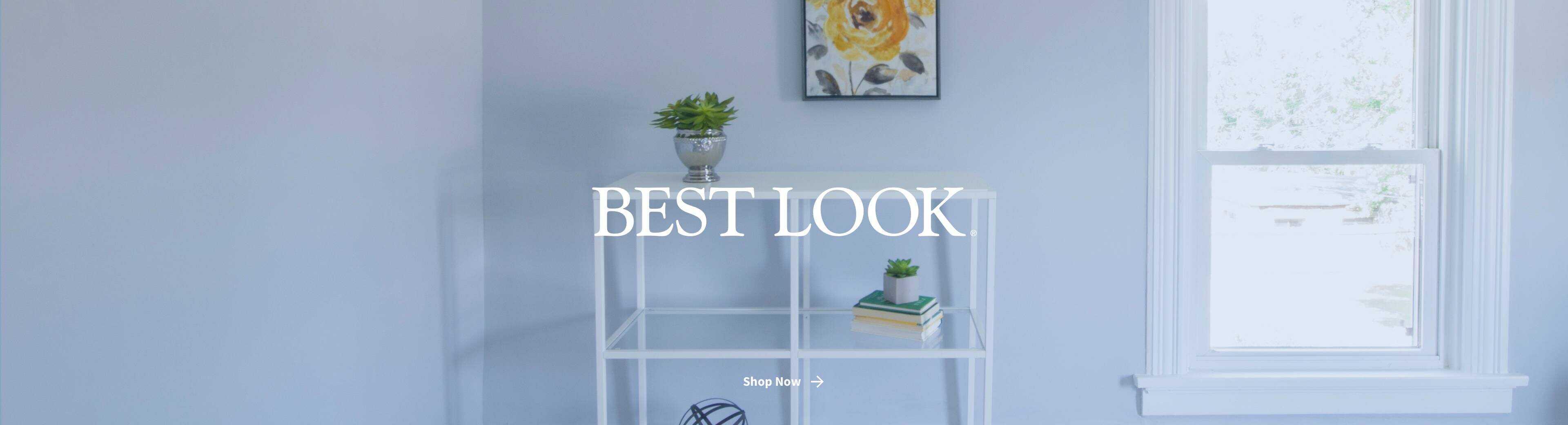 Best Look logo in blue-painted bedroom