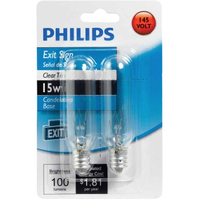 Philips 15W Clear Candelabra T6 Incandescent Exit Sign Light Bulb (2-Pack)