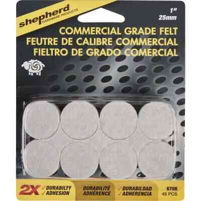 Shepherd 1 In. Beige Self-Adhesive Commercial Grade Felt Pads (48-Count)