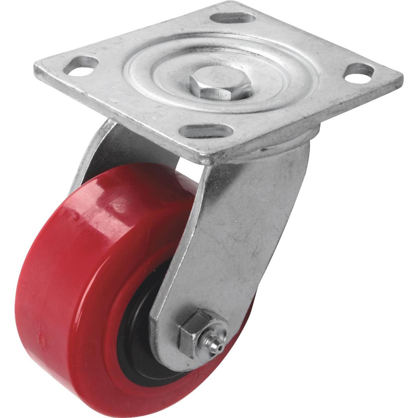 Shepherd 4 In. Polyurethane Medium-Heavy Duty Swivel Plate Caster Image 1