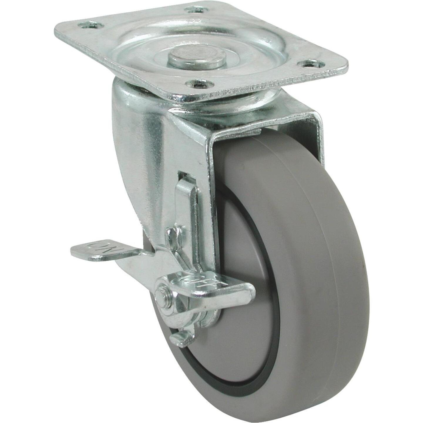 Shepherd 4 In. Thermoplastic Swivel Plate Caster with Brake Image 1