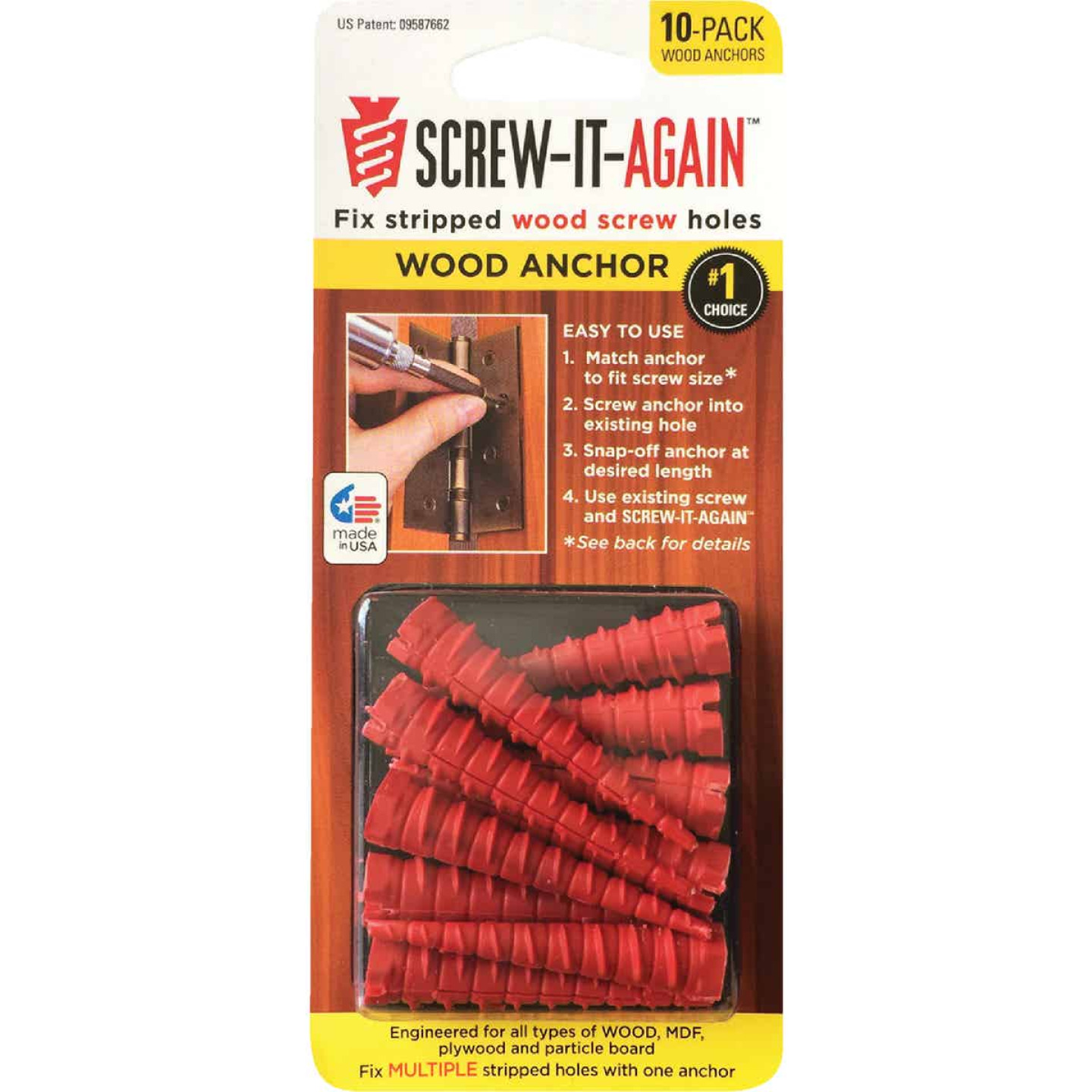 Screw-It-Again #2 to #16 Thread x 2 In. Red Plastic Wood Anchor (10 Ct.) Image 1