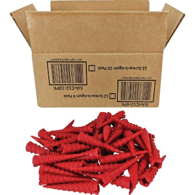 Screw-It-Again #2 to #16 Thread x 2 In. Red Plastic Wood Anchor (50 Ct.)