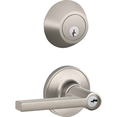 Dexter Solstice Satin Nickel Single Cylinder Deadbolt & Door Lever Combo