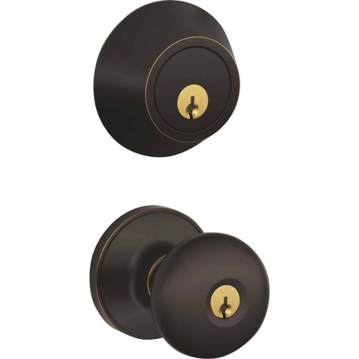 Dexter Stratus Aged Bronze Single Cylinder Deadbolt & Door Knob Combo
