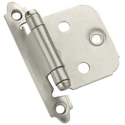 Amerock Satin Nickel Self-Closing Face Mount Overlay Hinge (2-Pack)