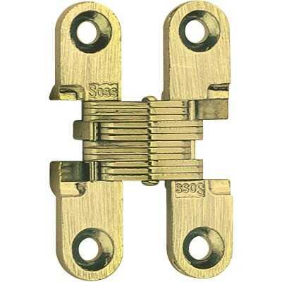 SOSS Satin Brass 1/2 In. x 1-1/2 In. Invisible Hinge, (2-Pack)