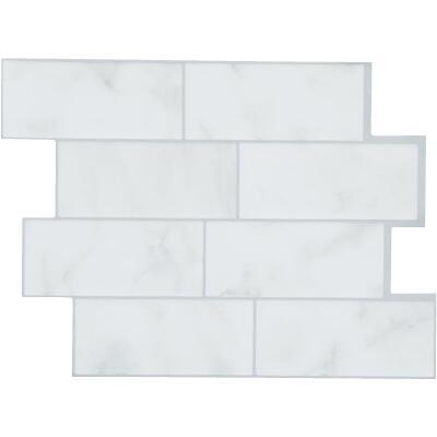 Smart Tiles 8.83 In. x 11.56 In. Glass-Like Plastic Backsplash Peel & Stick, Metro Carrera Subway Tile