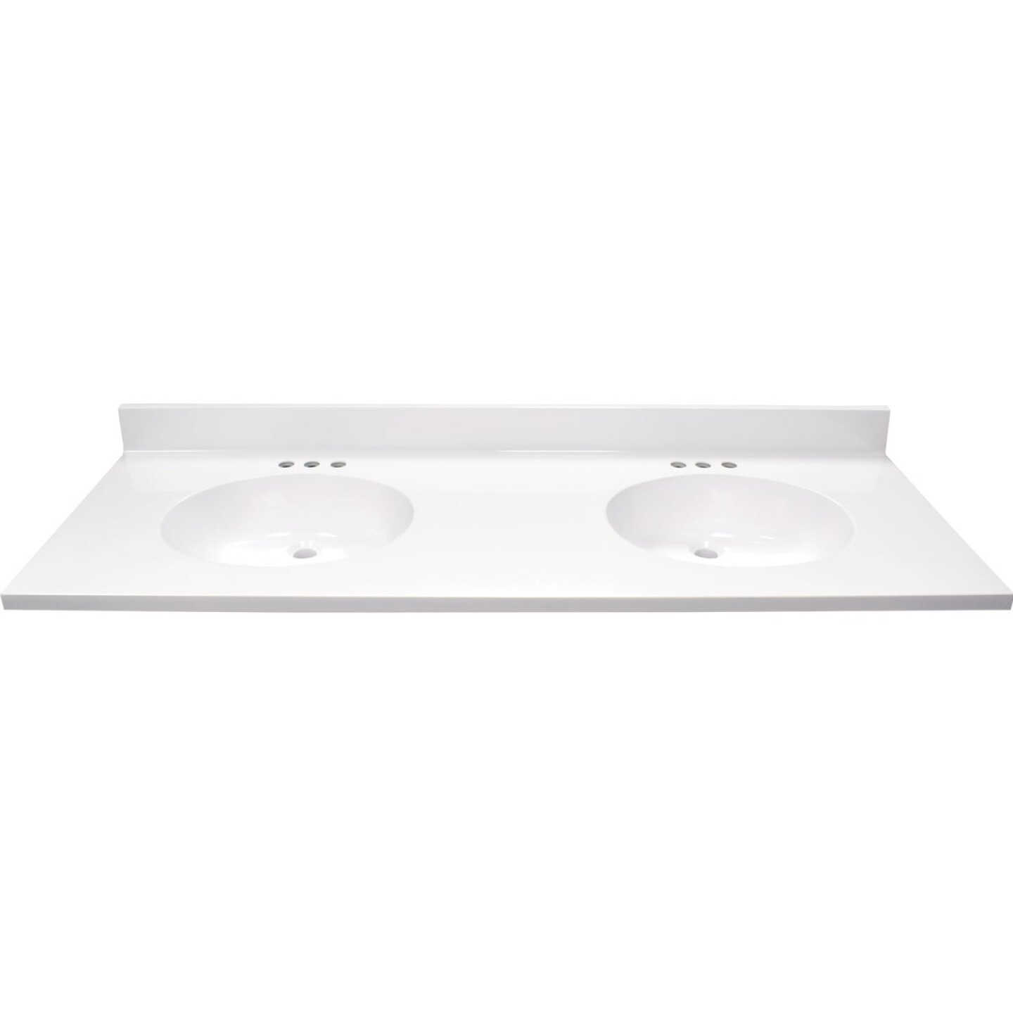 Modular Vanity Tops 61 In. W x 22 In. D Solid White Cultured Marble Flat Edge Vanity Top with Oval Bowl Image 2