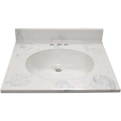 Modular Vanity Tops 25 In. W x 22 In. D Marbled Dove Gray Cultured Marble Flat Edge Vanity Top with Oval Bowl