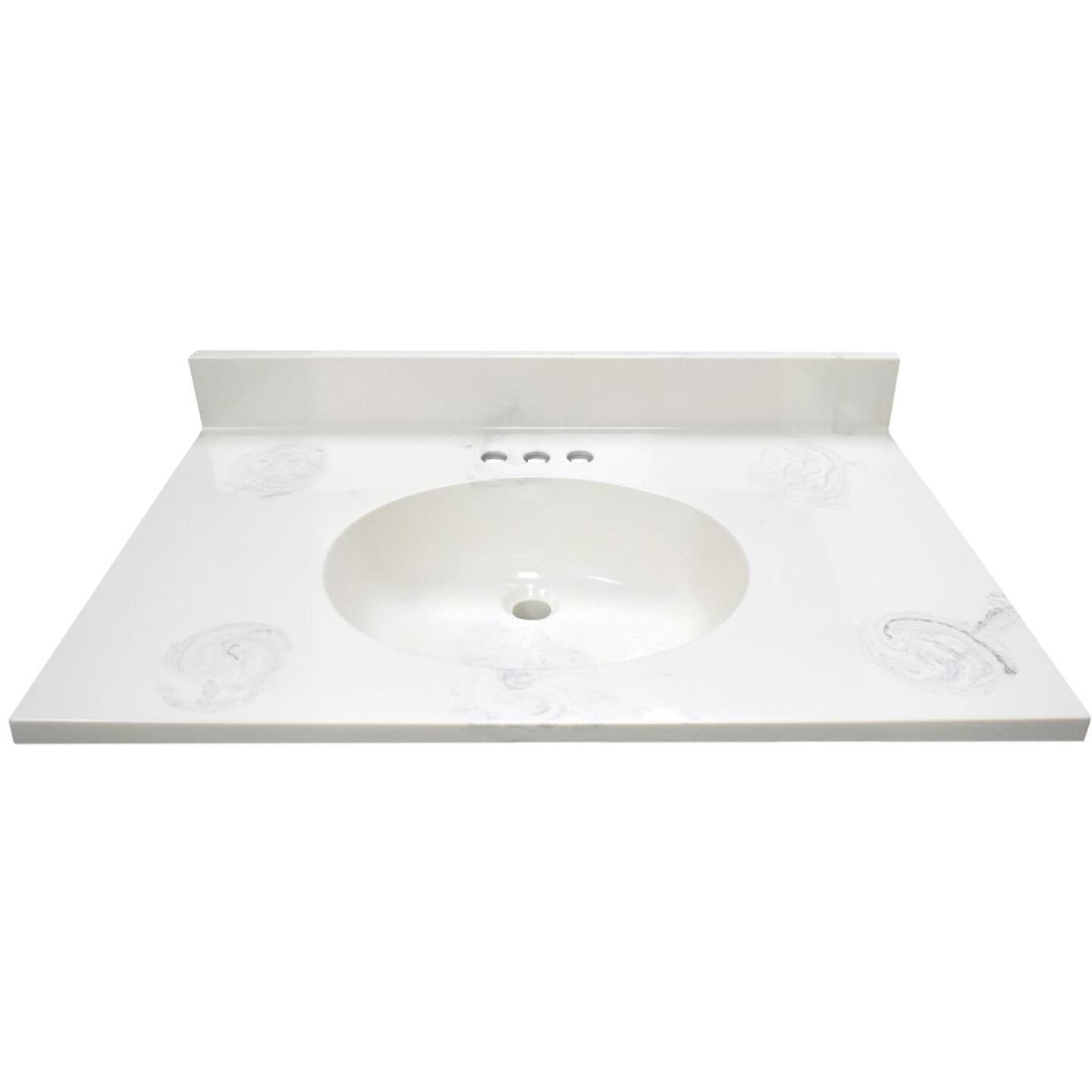Modular Vanity Tops 31 In. W x 22 In. D Marbled Dove Gray Cultured Marble Vanity Top with Oval Bowl Image 2