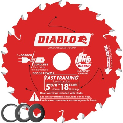 Diablo 5-3/8 In. 18-Tooth Fast Framing Circular Saw Blade with Bushings
