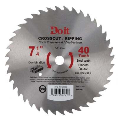 Do it 7-1/4 In. 40-Tooth Cutoff/Rip Circular Saw Blade, Bulk