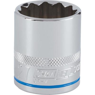 Channellock 1/2 In. Drive 27 mm 12-Point Shallow Metric Socket