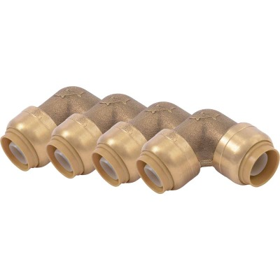 SharkBite 1/2 In. x 1/2 In. 90 Deg. Push-to-Connect Brass Elbow  (1/4 Bend) (4-Pack)