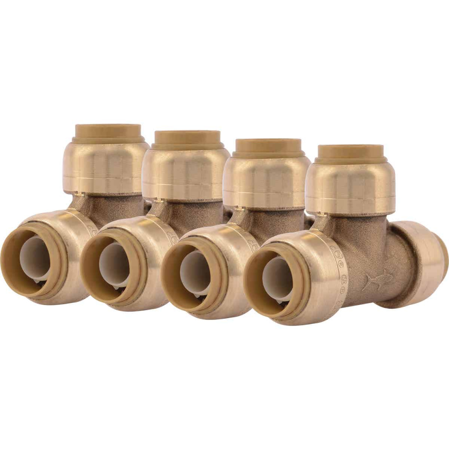 SharkBite 1/2 In. x 1/2 In. x 1/2 In. Brass Push-to-Connect Tee (4-Pack) Image 1