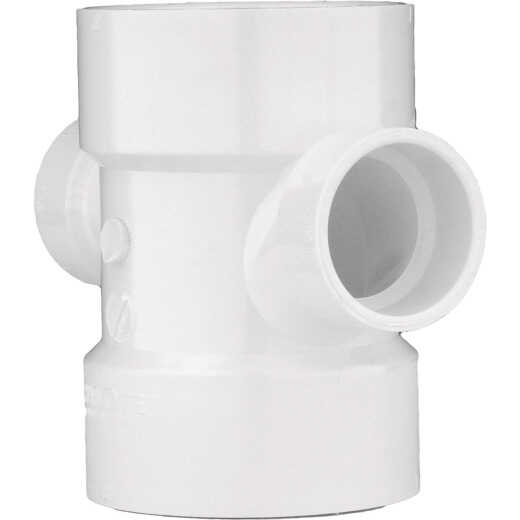 Charlotte Pipe 3 In. X 2 In. Reducing Double Sanitary PVC Tee