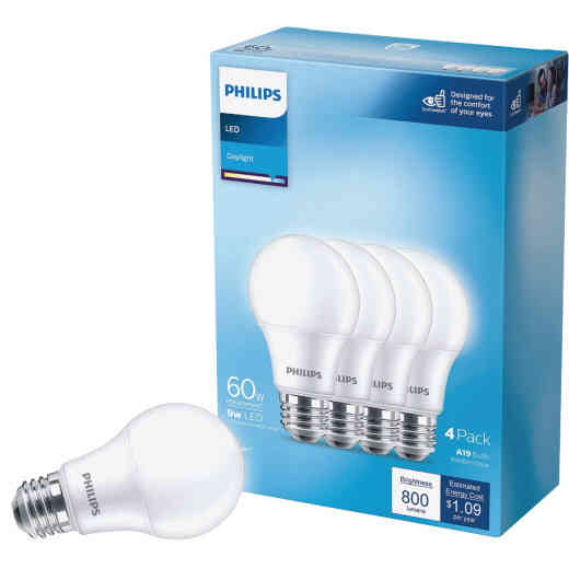 Philips 60W Equivalent Daylight A19 Medium LED Light Bulb (4-Pack)