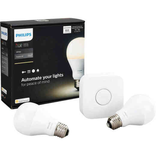 Philips Hue 2-Bulb 60W Equivalent Soft White A19 Medium Dimmable LED Light Bulb Starter Kit