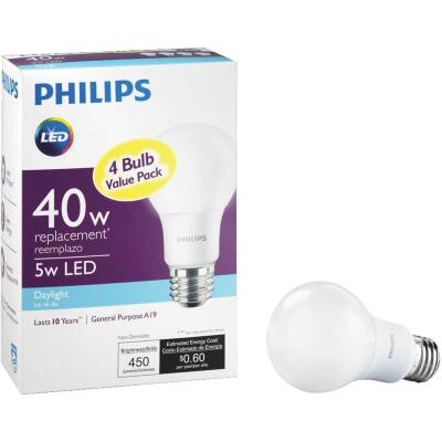 Philips 40W Equivalent Daylight A19 Medium LED Light Bulb (4-Pack)
