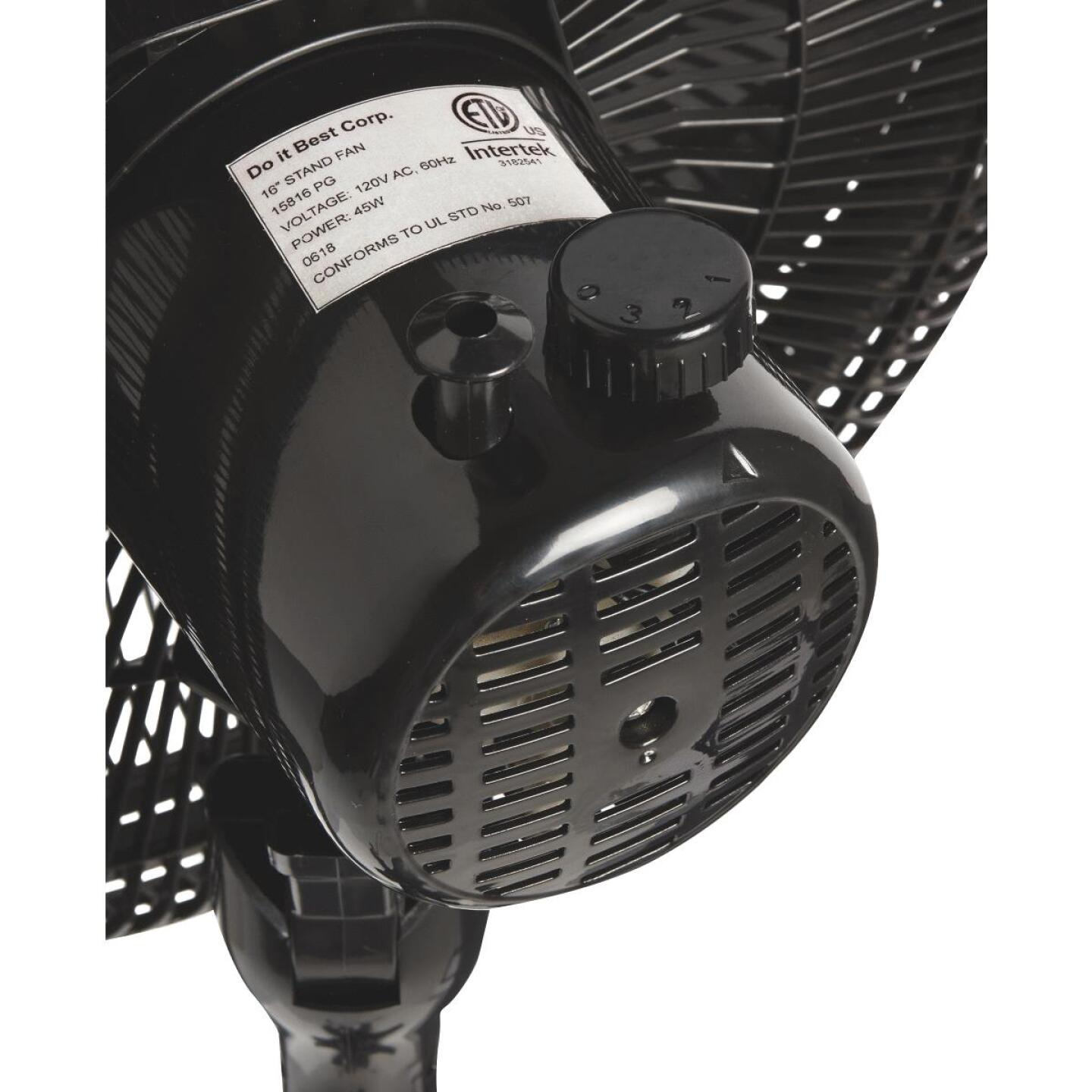 Best Comfort 16 In. 3-Speed 38 In. to 49 In. H. Black Oscillating Pedestal Fan Image 2