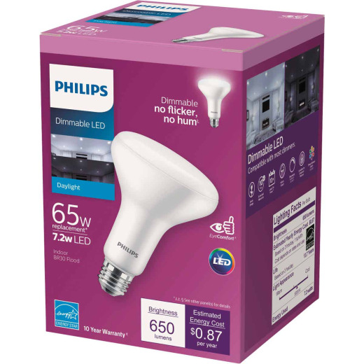 Philips 65W Equivalent Daylight BR30 Medium Dimmable LED Floodlight Light Bulb