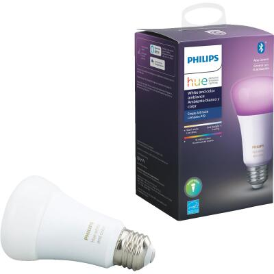 Philips Hue White & Color Ambiance 60W Equivalent Medium A19 Dimmable LED Light Bulb