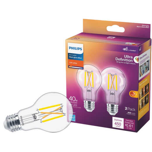 Philips Warm Glow 40W Equivalent Soft White A19 Medium Dimmable LED Light Bulb (2-Pack)