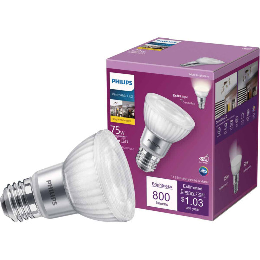 Philips 75W Equivalent Bright White PAR20 Medium Dimmable LED Floodlight Light Bulb