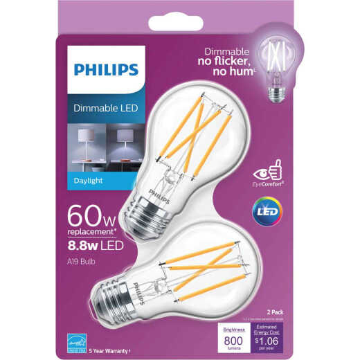 Philips 60W Equivalent Daylight A19 Medium Dimmable LED Light Bulb (2-Pack)