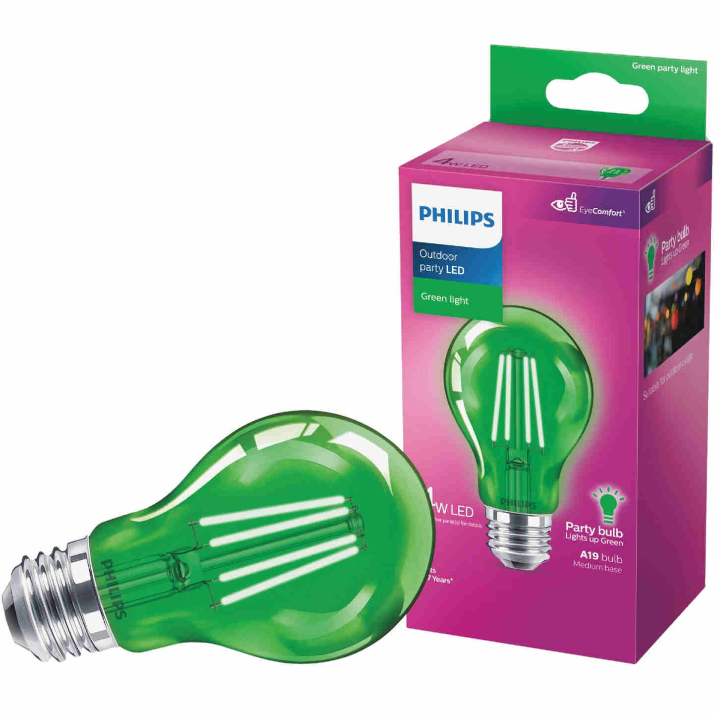 Philips Green A19 Medium 4W Indoor/Outdoor LED Decorative Party Light Bulb Image 1
