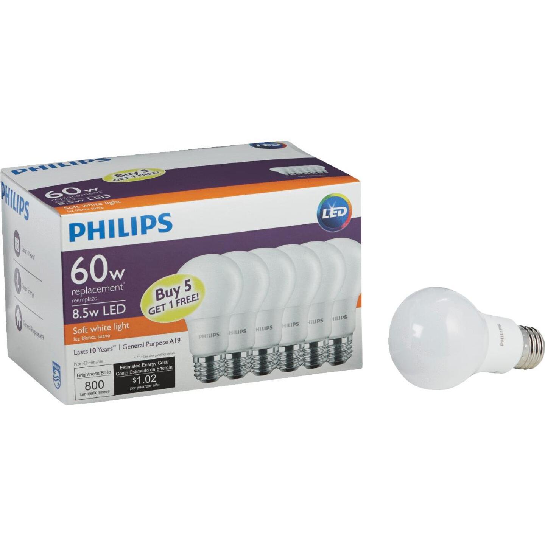 Philips 60W Equivalent Soft White A19 Medium LED Light Bulb (6-Pack) Image 1