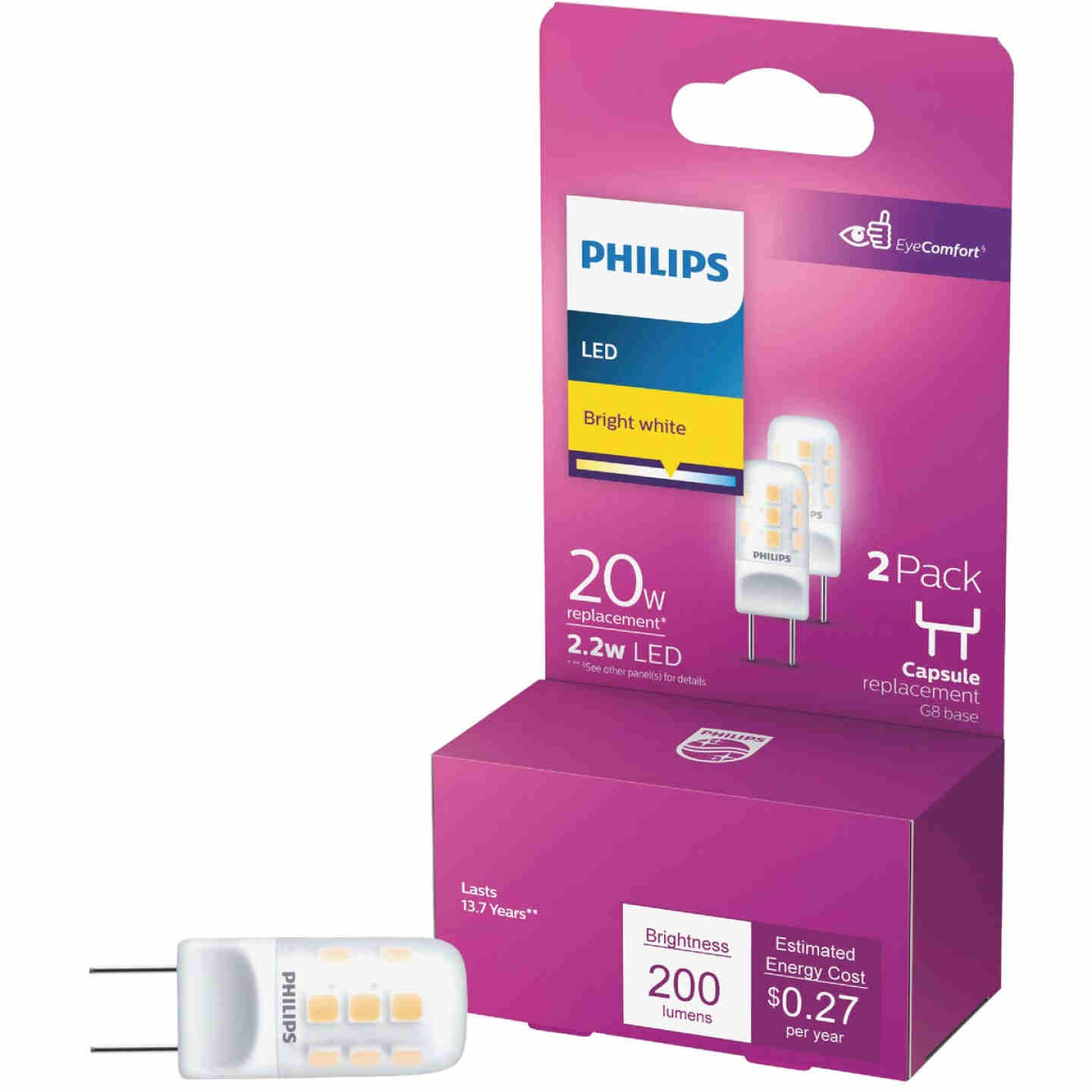Philips 20W Equivalent T4 G8 Bi-Pin Base LED Special Purpose Light Bulb (2-Pack) Image 1