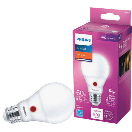 Philips 60W Equivalent Soft White A19 Medium Dusk to Dawn LED Light Bulb