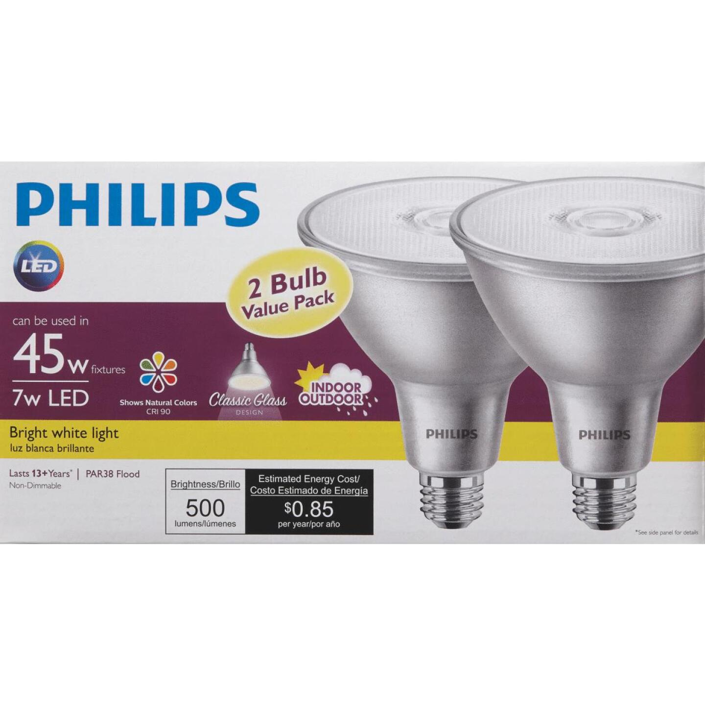 Philips 45W Equivalent Bright White PAR38 Medium Indoor/Outdoor LED Floodlight Light Bulb (2-Pack) Image 2