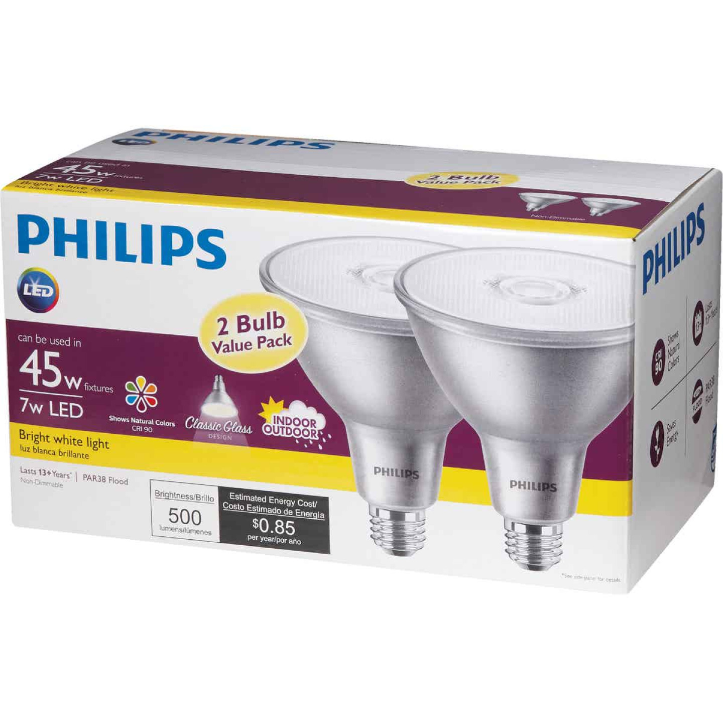 Philips 45W Equivalent Bright White PAR38 Medium Indoor/Outdoor LED Floodlight Light Bulb (2-Pack) Image 5
