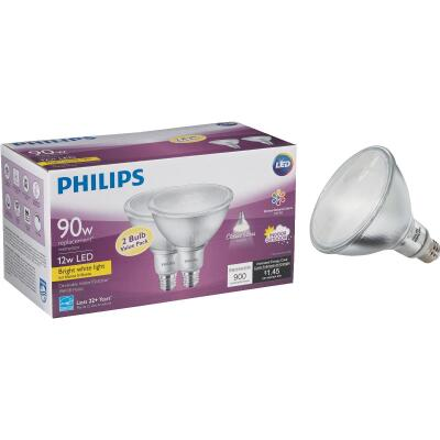 Philips 90W Equivalent Bright White PAR38 Medium Indoor/Outdoor LED Floodlight Light Bulb (2-Pack)
