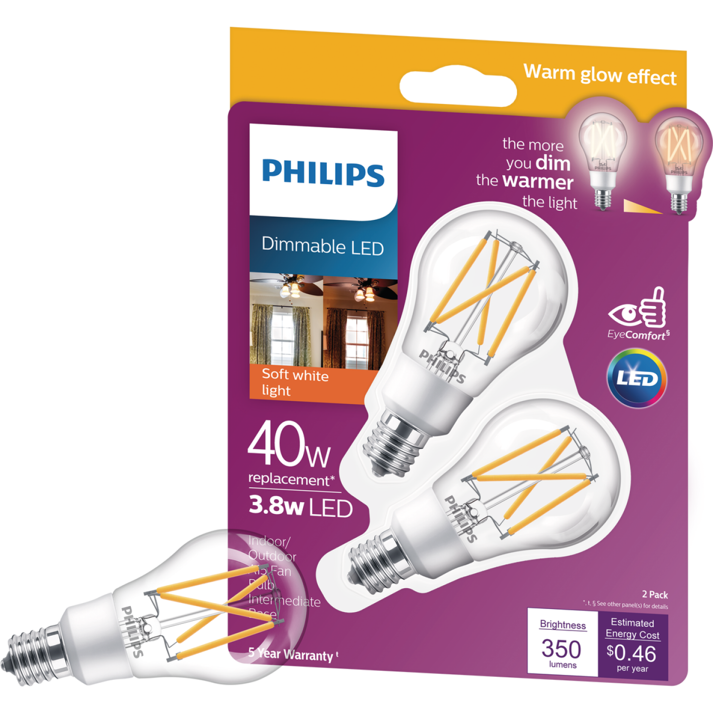 Philips Warm Glow 45W Equivalent Soft White A15 E17 Base Dimmable LED Light Bulb (2-Pack) Image 1