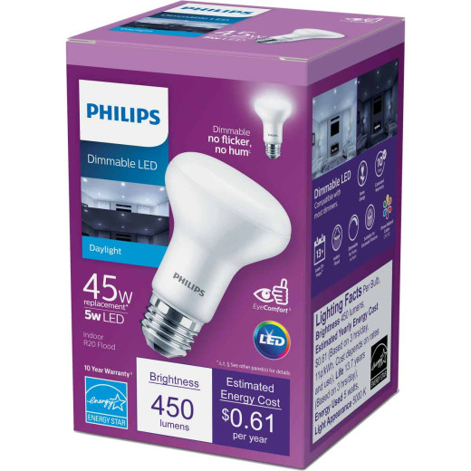 Philips 45W Equivalent Daylight R20 Medium Dimmable LED Floodlight Light Bulb