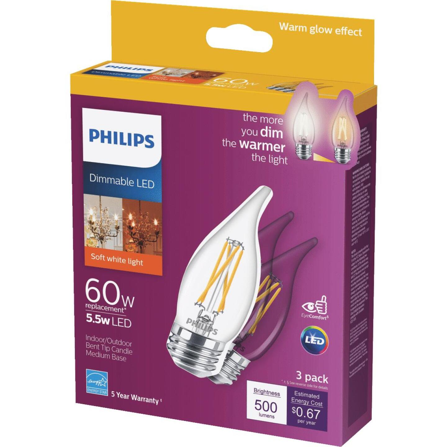 Philips Warm Glow 60W Equivalent Soft White BA11 Medium Dimmable LED Decorative Light Bulb (3-Pack) Image 1