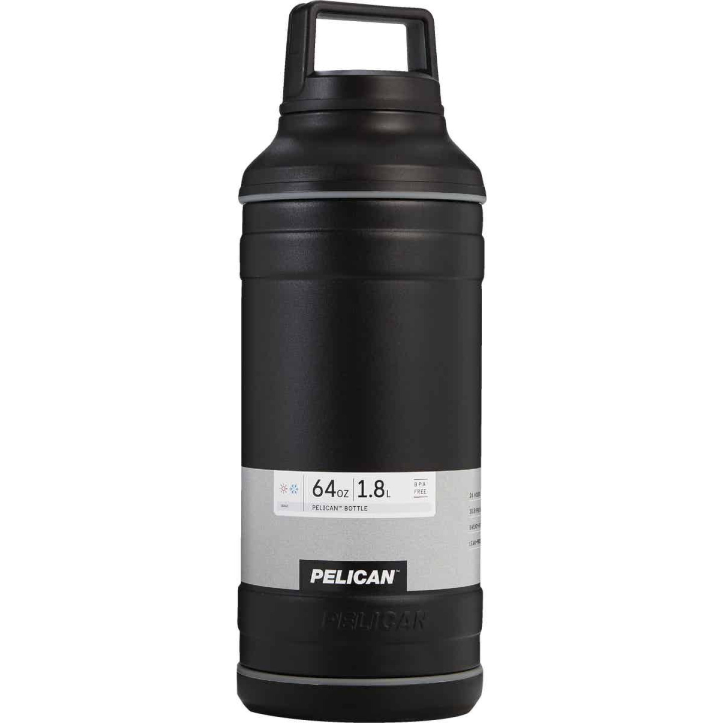 Pelican 64 Oz. Black Stainless Steel Travel Bottle Image 1