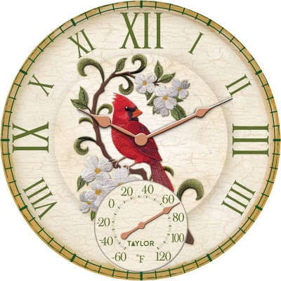 Taylor SpringField 14 In. Resin Indoor/Outdoor Cardinal Clock Thermometer