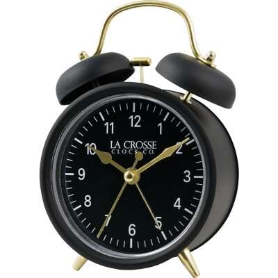 La Crosse Technology Equity Quartz Analog Twin Bell Battery Operated Alarm Clock