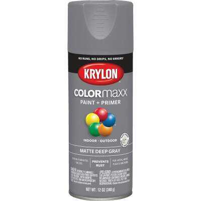 Krylon ColorMaxx 12 Oz. Matte Paint + Primer Spray Paint, Deep Gray