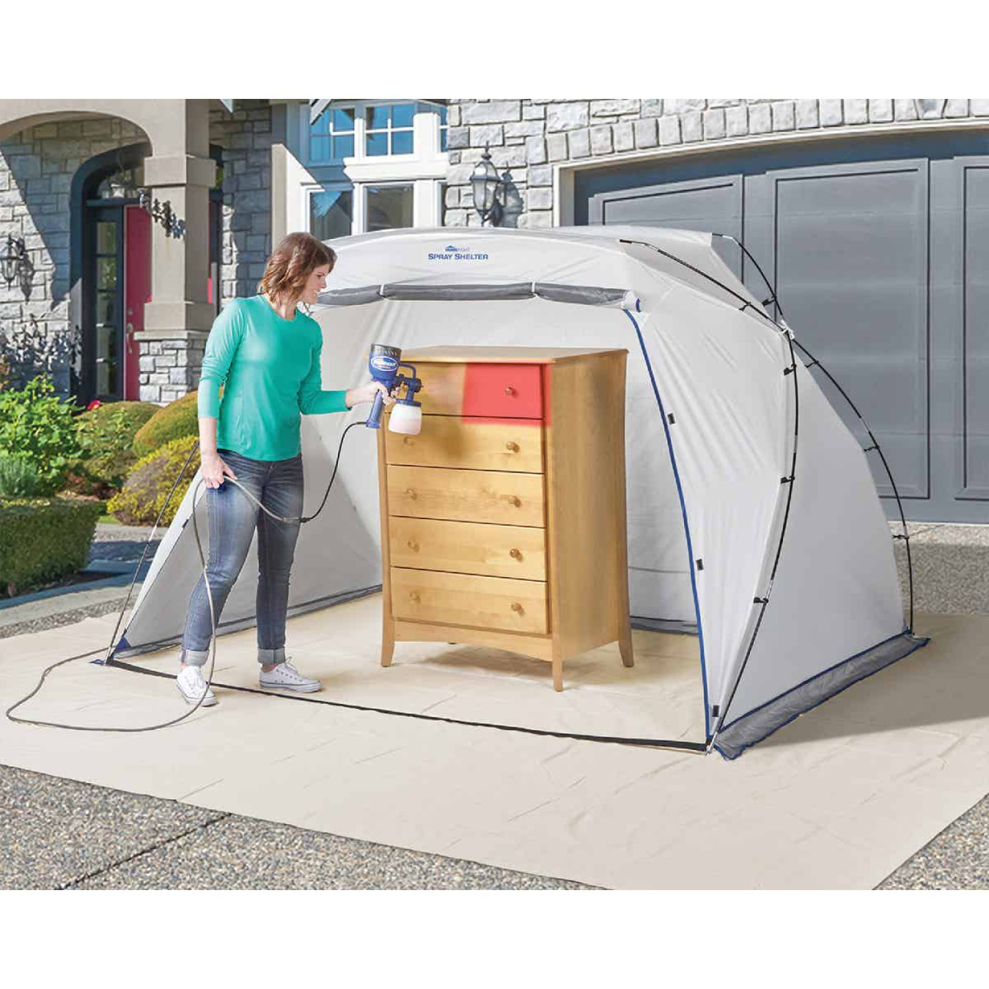 HomeRight 9 Ft. W. x 5.5 Ft. H. x 6 Ft. D. Large Portable Spray Shelter Image 2