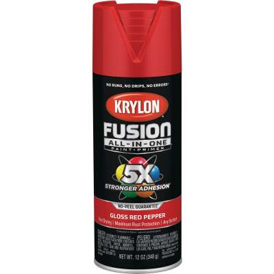 Krylon Fusion All-In-One Gloss Spray Paint & Primer, Red Pepper