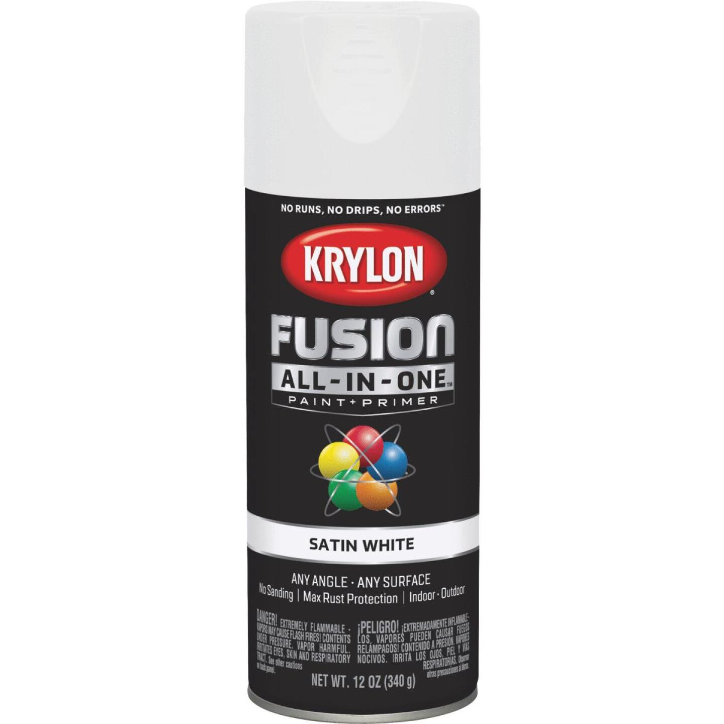 Krylon Fusion All-In-One Satin Spray Paint & Primer, White Image 1