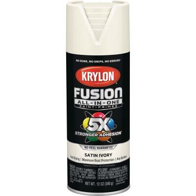 Krylon Fusion All-In-One Satin Spray Paint & Primer, Ivory