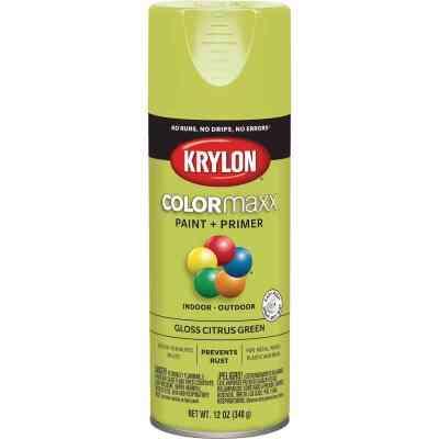 Krylon Colormaxx Gloss Spray Paint & Primer, Citrus Green